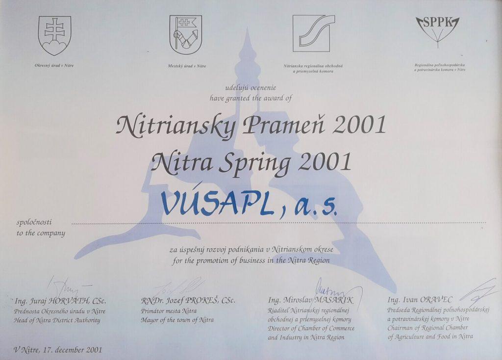 história VÚSAPL 2001